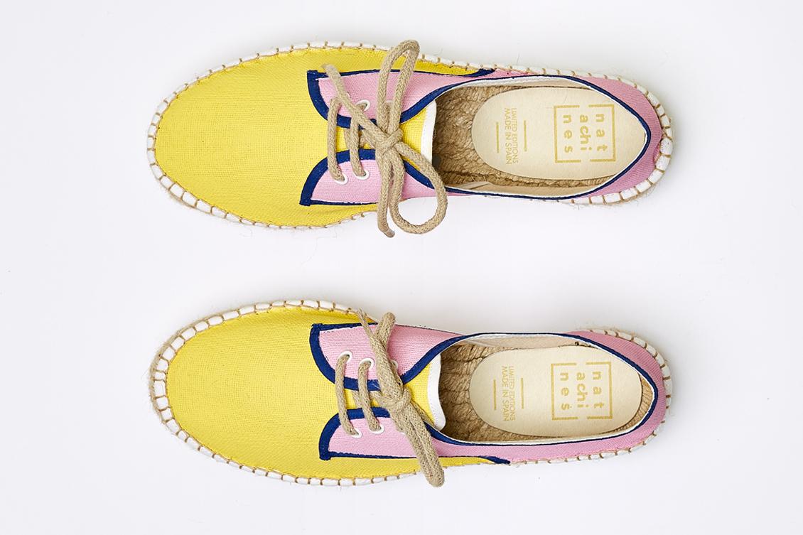 Plataformas en color amarillo y rosa para mujer