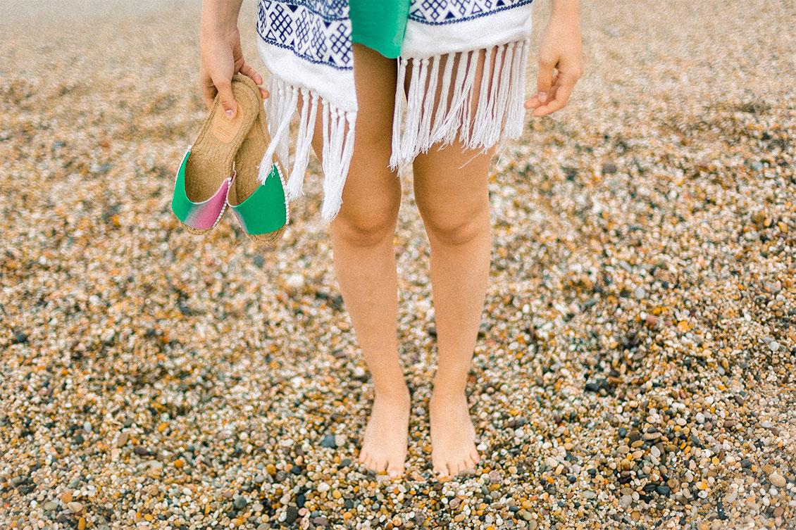 sandalias de mujer de verano en verde y rosa